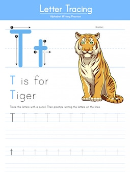 Letter t tracing animal alphabet t voor tiger