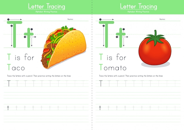 Letter t tracing food alphabet