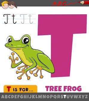 Letter t uit alfabet met cartoon boomkikker dier