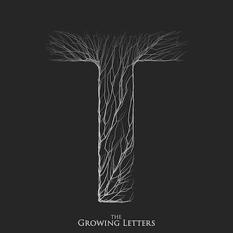 Letter t van tak of gebarsten alfabet. t-symbool bestaande uit groeiende witte lijnen.