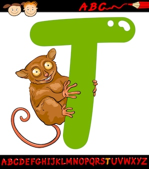 Letter t voor tarsier cartoon illustratie