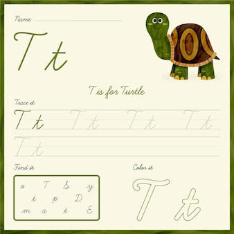 Letter t-werkblad met schildpad