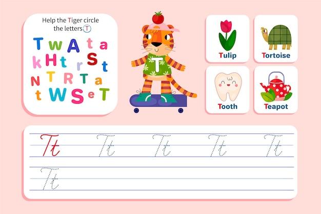 Letter t-werkblad met tijger