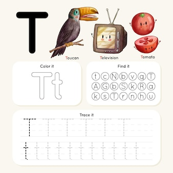 Letter t-werkblad met toekan, televisie, tomaat