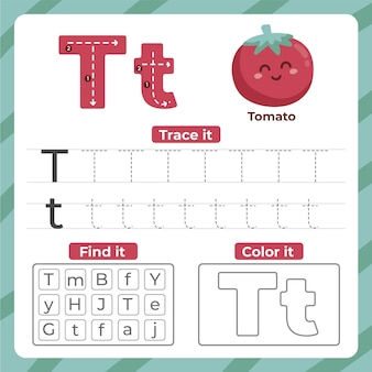 Letter t-werkblad met tomaat