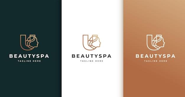 Letter u-logo-ontwerp met het gezicht van de vrouw