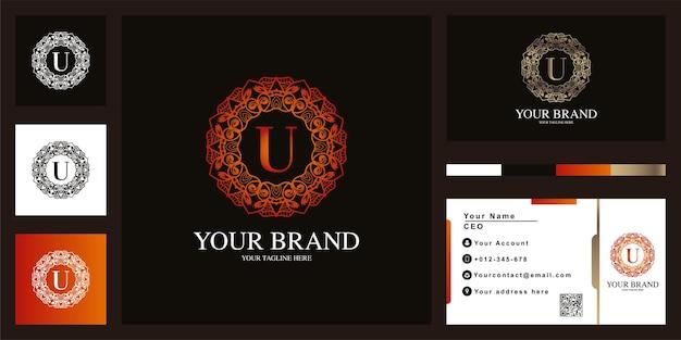 Letter u luxe sieraad bloem frame logo sjabloonontwerp met visitekaartje.