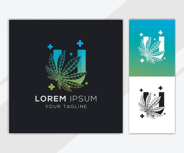 Letter u met abstracte cannabis logo sjabloon