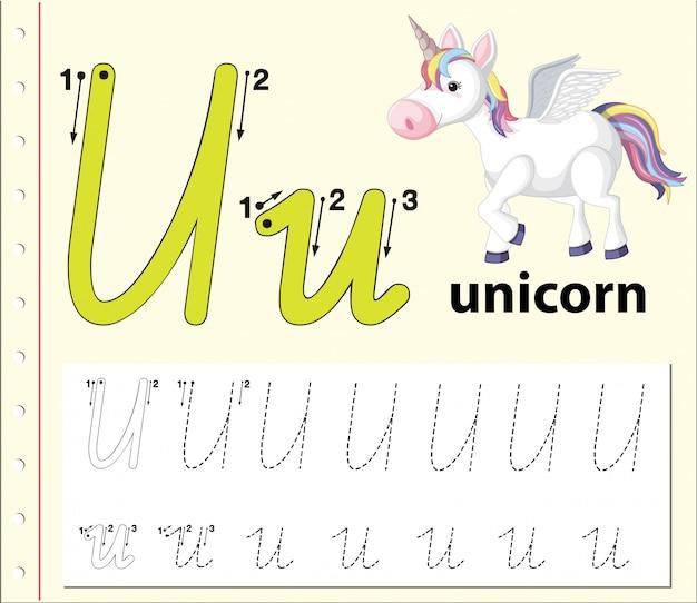 Letter u tracing alfabet werkbladen