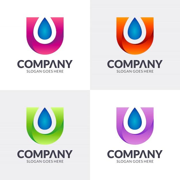 Letter u + waterdruppel logo