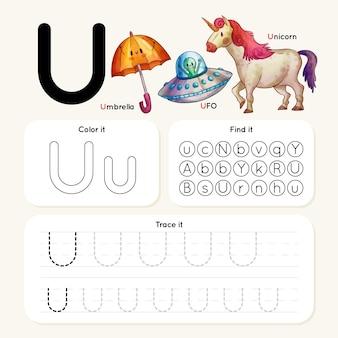 Letter u-werkblad met items