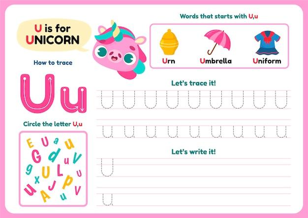 Letter u-werkblad met verschillende items