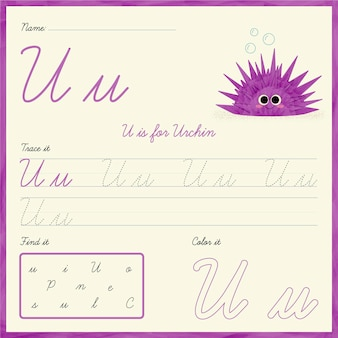 Letter u-werkbladsjabloon