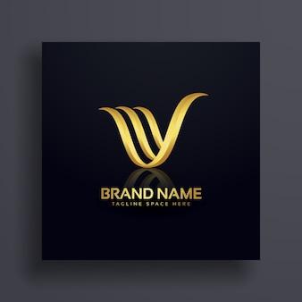 Letter v creatief premium gouden logo ontwerp