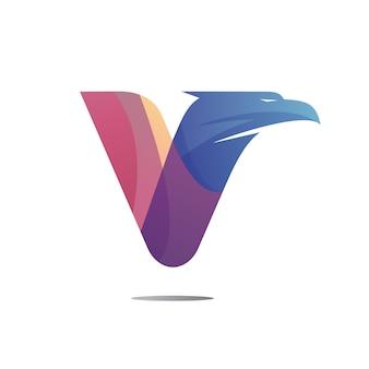 Letter v eagle hoofd logo ontwerp