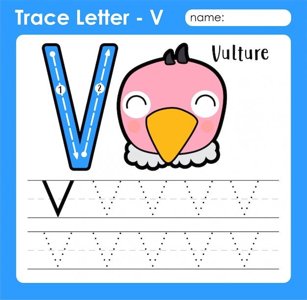Letter v hoofdletters - alfabetletters overtrekken werkblad met vulture