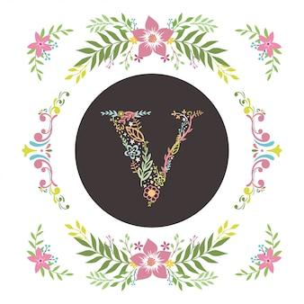 Letter v initialen met florale vector