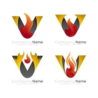 Letter v-logo en vuurontwerpcombinatie, abstract pictogram