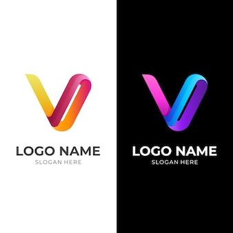 Letter v-logo-ontwerp met 3d-oranje en blauwe kleurstijl