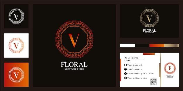 Letter v luxe sieraad bloem frame sjabloon embleemontwerp met visitekaartje.