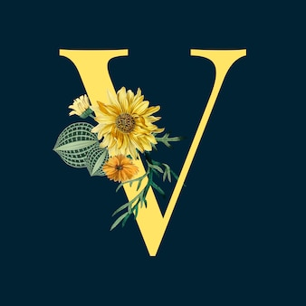 Letter v met bloemen