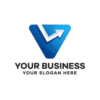 Letter v met pijlverloop logo-ontwerp