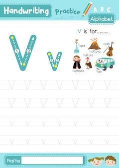 Letter v oefenblad in hoofdletters en kleine letters