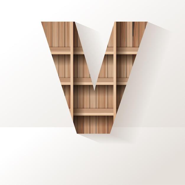Letter v-ontwerp van houten plank