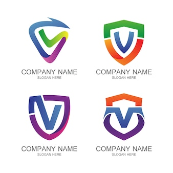 Letter v shield logo vector set