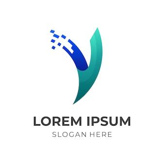 Letter v tech-logo, letter v en pixel, combinatielogo met 3d-blauwe en groene kleurstijl