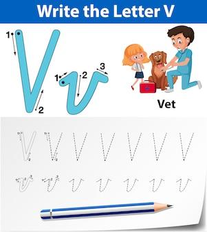 Letter v tracing alfabet werkbladen