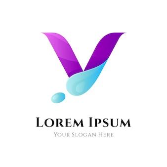 Letter v waterdruppel logo concept