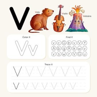 Letter v-werkblad met vole, viool, vulkaan Premium Vector