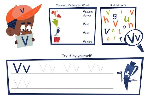 Letter v-werkbladsjabloon