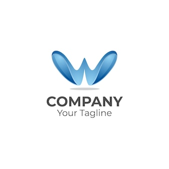Letter w 3d logo creatief concept logo sjabloon