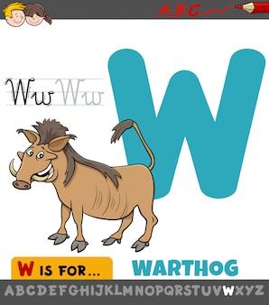 Letter w educatief werkblad met wrattenzwijndier