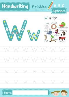 Letter w hoofdletters en kleine letters oefenen werkblad Premium Vector