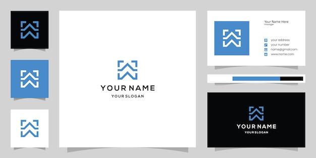 Letter w-logo en visitekaartjesjabloon