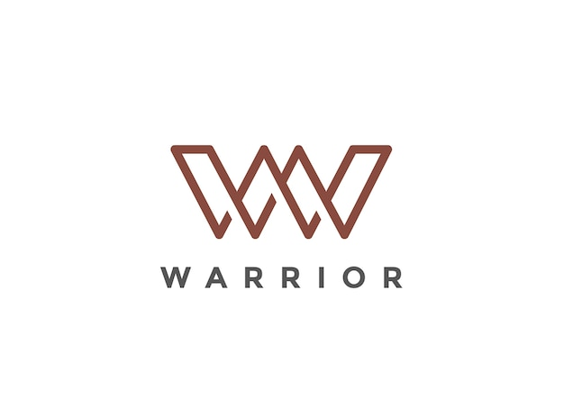 Letter w-logo. lineaire stijl