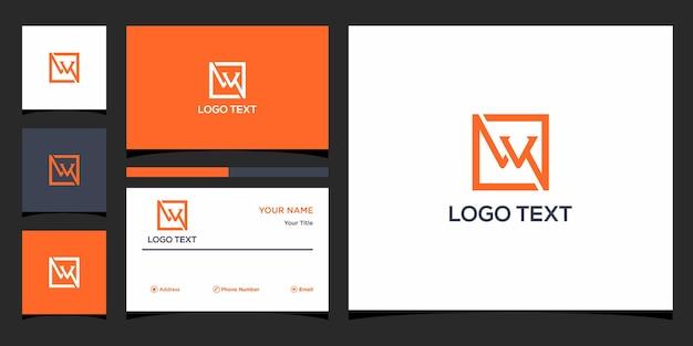 Letter w logo-ontwerp en visitekaartje premium vector premium vector