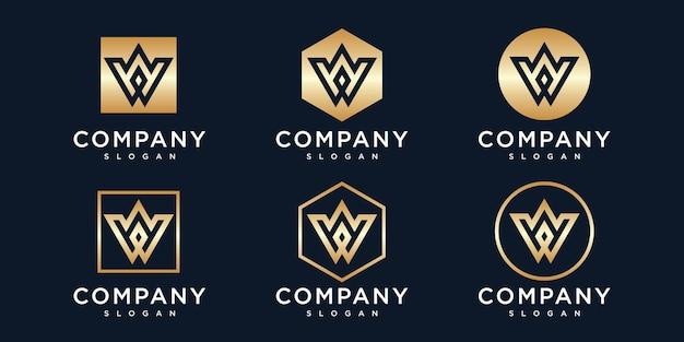 Letter w logo ontwerpsjabloon met gouden kleur pictogram
