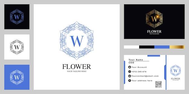 Letter w luxe sieraad bloem of mandala frame sjabloon embleemontwerp met visitekaartje.