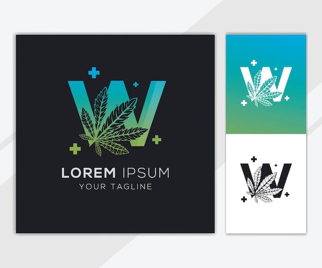 Letter w met abstracte cannabis logo sjabloon