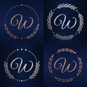 Letter w met bloemenframe logo sjabloon