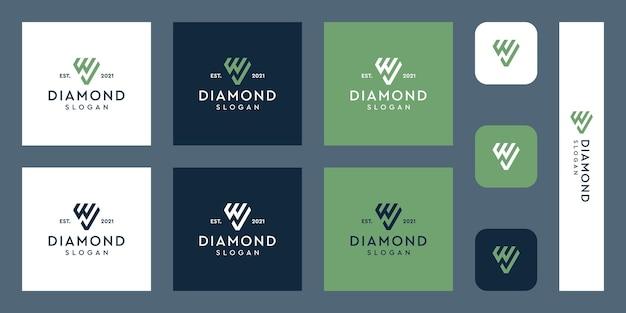 Letter w monogram logo en vinkje met abstracte diamantvormen