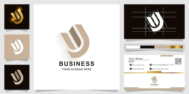 Letter w of uj monogram logo sjabloon met visitekaartje ontwerp