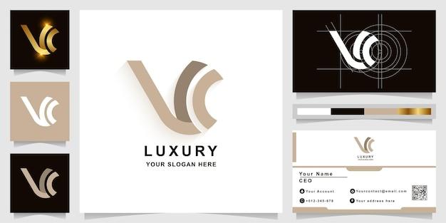 Letter w of vc monogram logo sjabloon met visitekaartje ontwerp