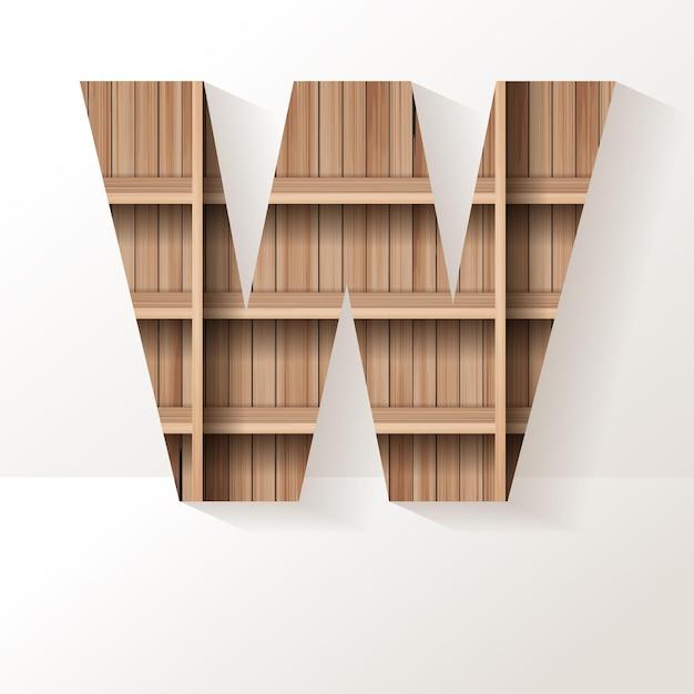 Letter w-ontwerp van houten plank