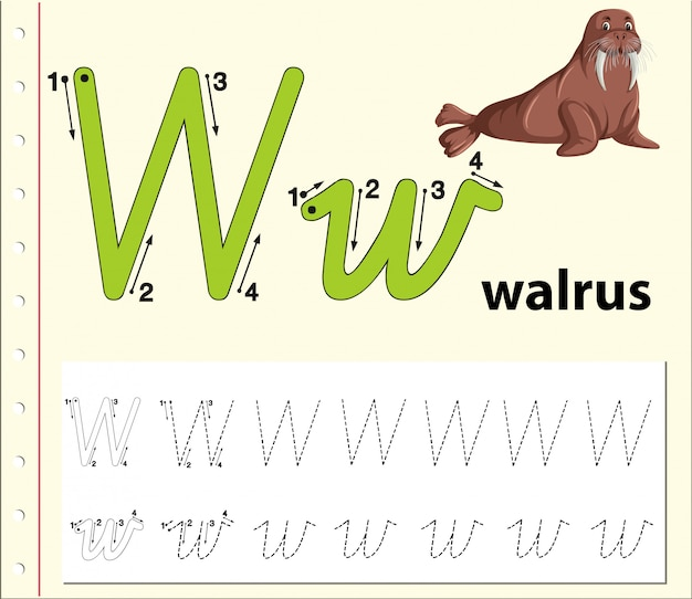 Letter w tracing alfabet werkbladen