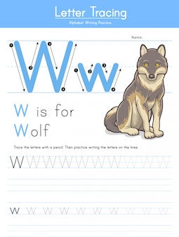 Letter w tracing animal alphabet w voor wolf